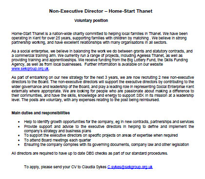 Image of Trustee Advert by Home start Thanet